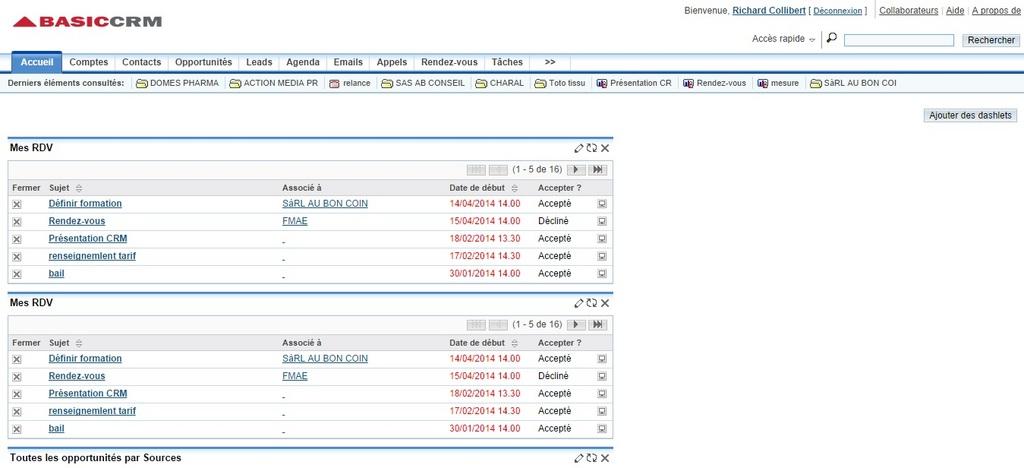 BasicCRM: Tâches et notes, Contrat de niveau de service (SLA), Gestion de comptes