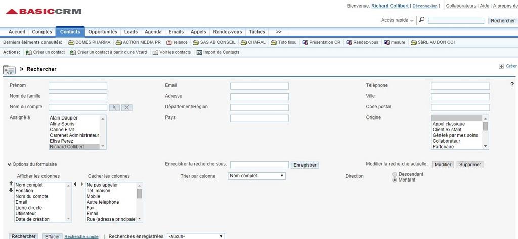 BasicCRM: Gestion des appels entrant & sortant, Process de vente et pipeline, Utilisateurs maximum