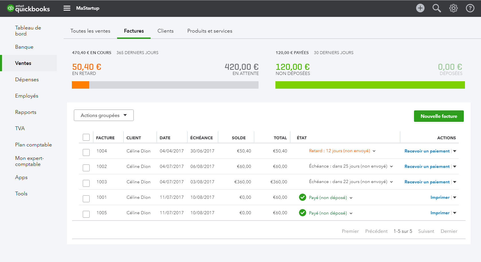 QuickBooks : gestion des factures clients