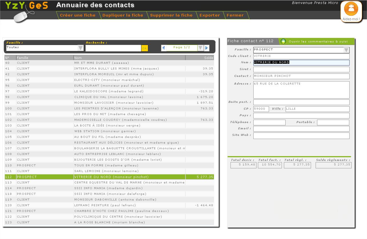 Yzy Ges: Import et export de données (CSV, XLS), Suivi des paiements / règlements, Support (téléphone, email, ticket)