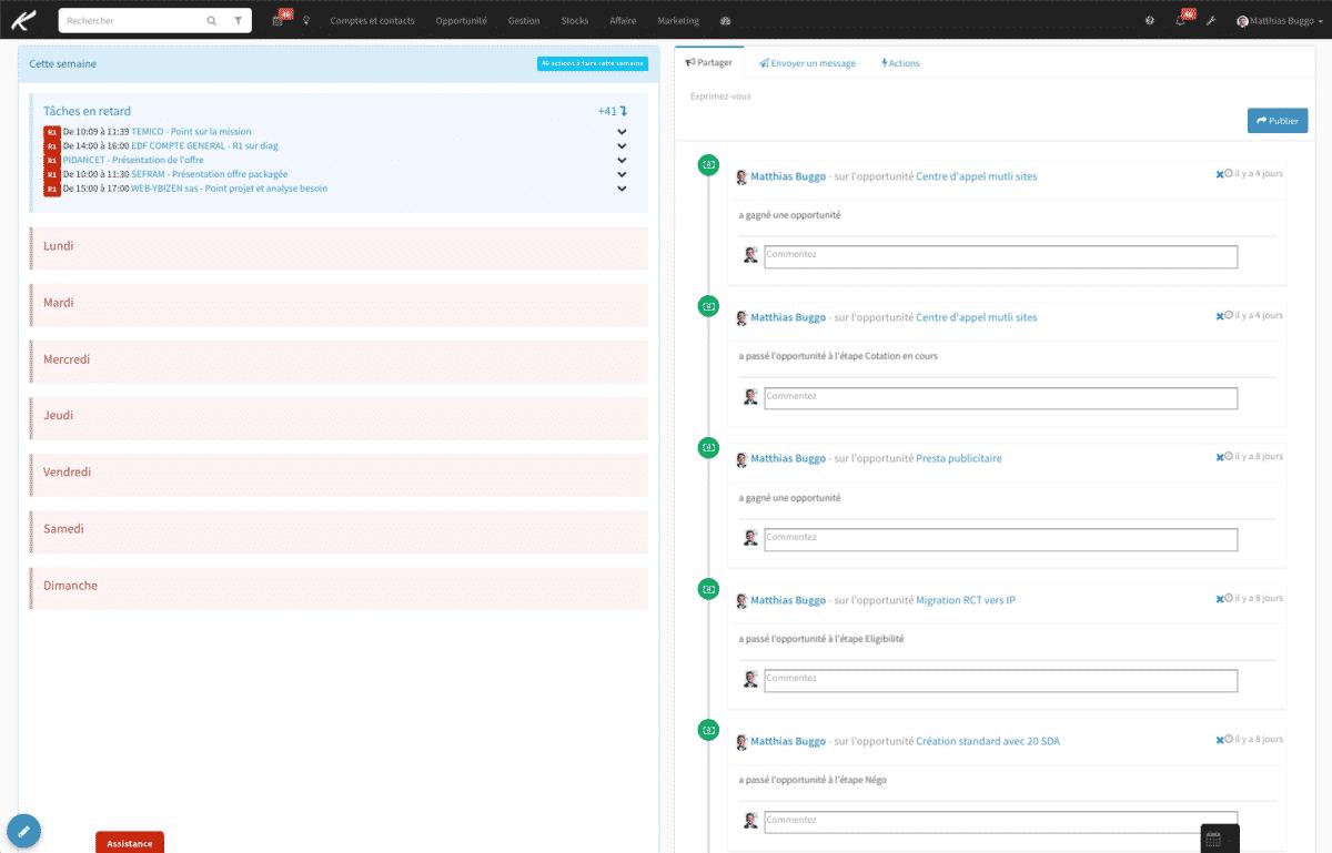 Fil d'actualité Koban pour communiquer facilement et être au courant des dernières actions effectuées (possibilité de filtrer les actions qui s'affichent sur le fil ou non)