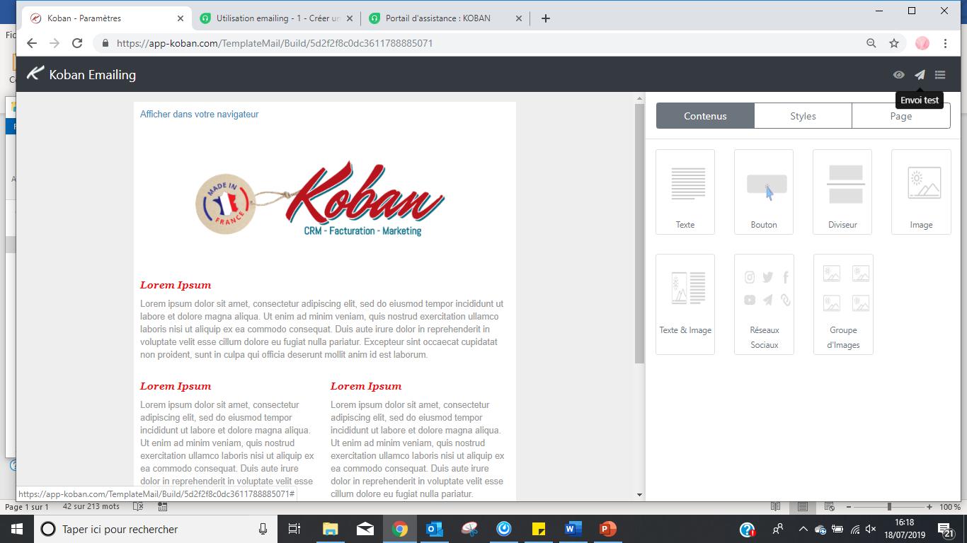 Editeur e-mailing intégré