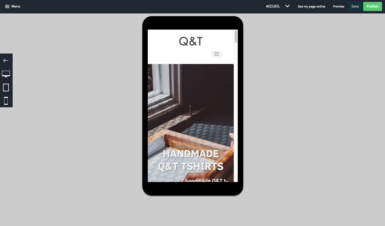 Prévisualisation du site sur mobile et tablette avant mise en ligne.