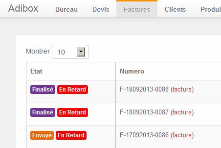 Adibox: Facturation récurrente, Rappel des retards de paiement, Devis