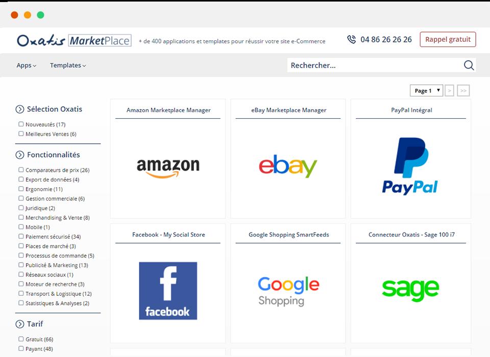 Oxatis vous fait profiter des mêmes fonctionnalités que les plus grands (Amazon / Cdiscount ...) grâce à sa boutique d'apps