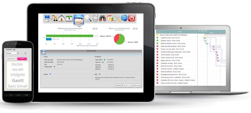 Simple CRM: Interface web adaptive, Requêtes personnalisées, Géo-localisation des clients