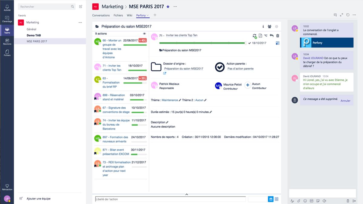 """Ajouter des onglets Perfony dans Teams. Perfony est Microsoft Partner"""". Ajouter le suivi de projet dans votre outil collaboratif."""""""
