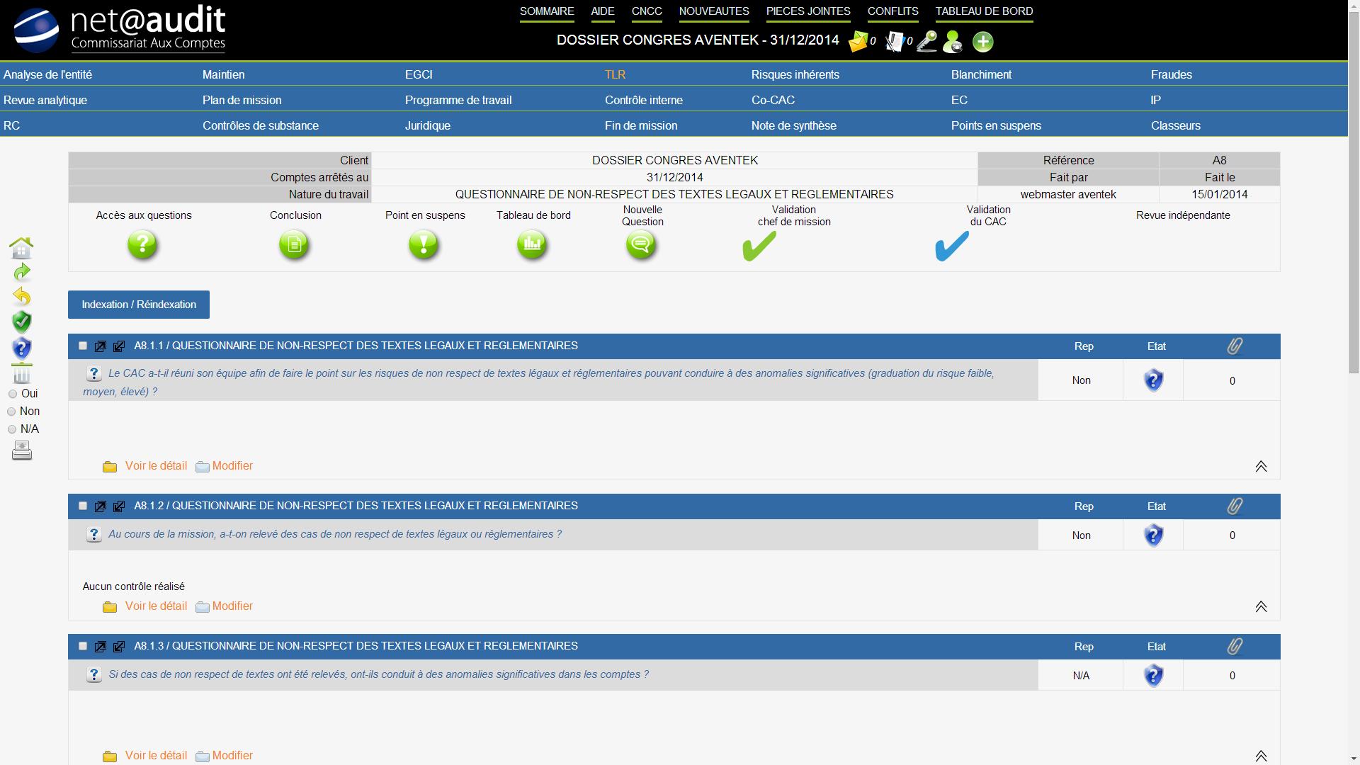 Netaudit: Formalisation automatisée du dossier, Gestionnaire de tâches, Note de synthèse