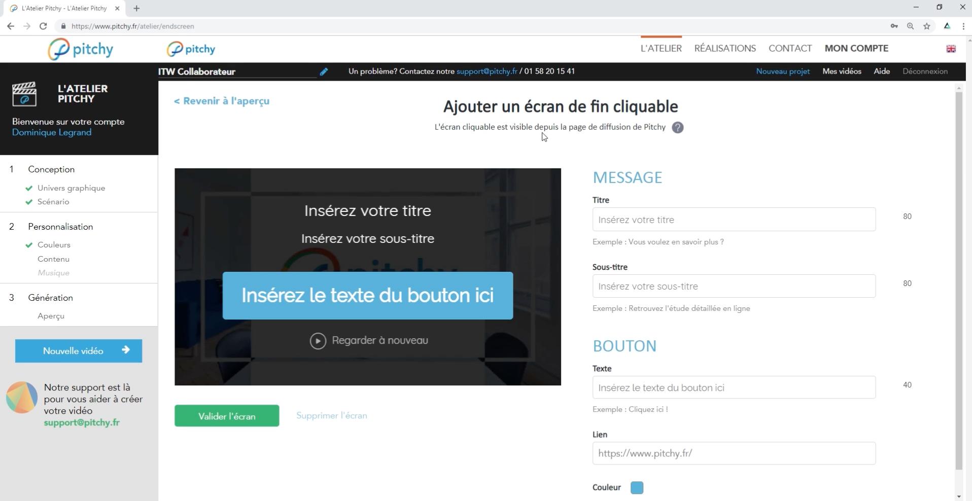 Une fois votre vidéo finalisée, ajoutez un écran de fin cliquable pour rediriger vers votre site