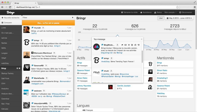 Bringr: Intégration aux réseaux sociaux, Application mobile, Tableaux de bord