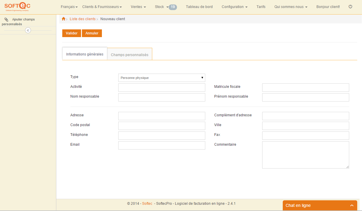 SoftecPro: Gestion des fournisseurs, Gestion de comptes, Sauvegarde quotidienne