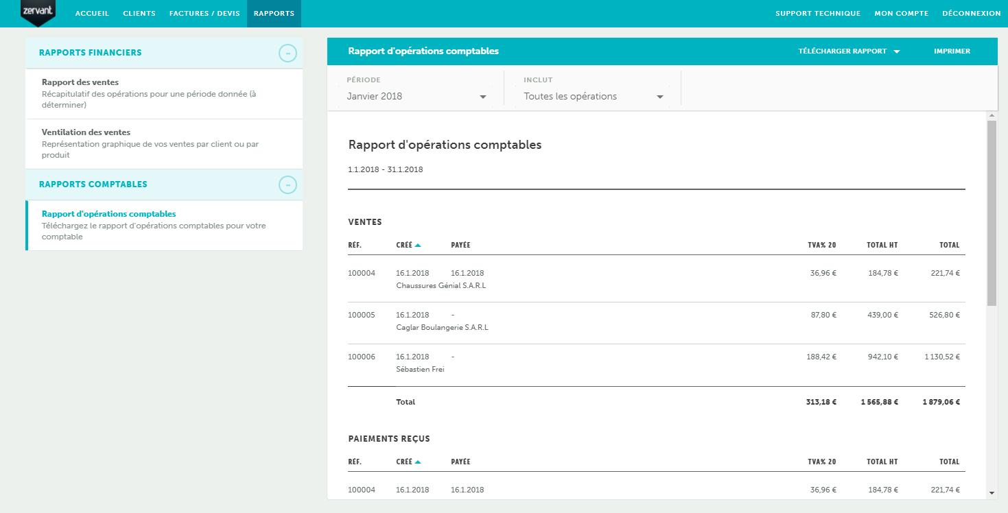 Zervant: Envoi des factures par email, Compte de résultat