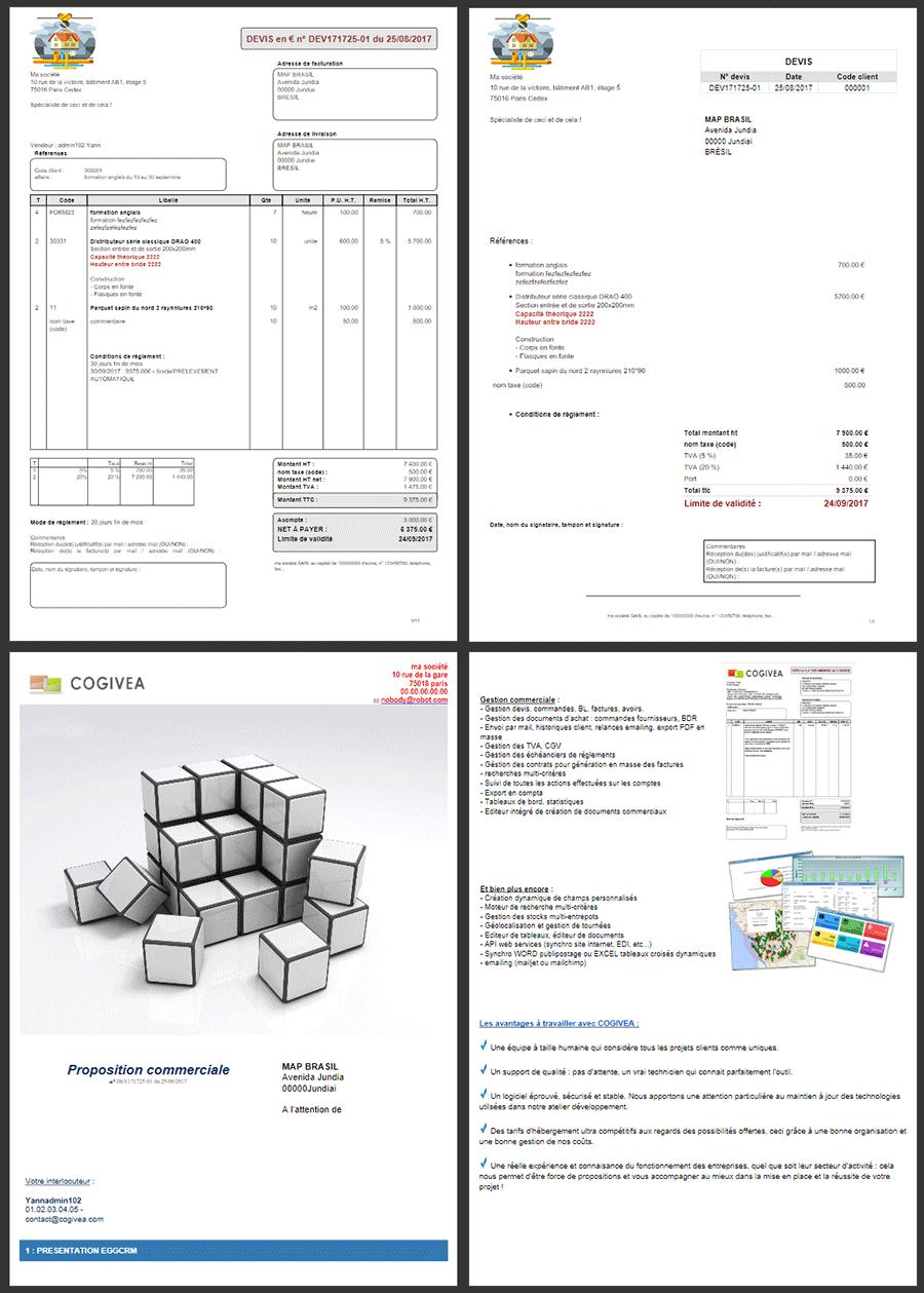 Documents PDF : différents modèles + puissant éditeur  avec variables de publipostage pour réaliser de nouveaux modèles : propositions commerciales, fiches clients, conventions de formations, accusés réception, etc....