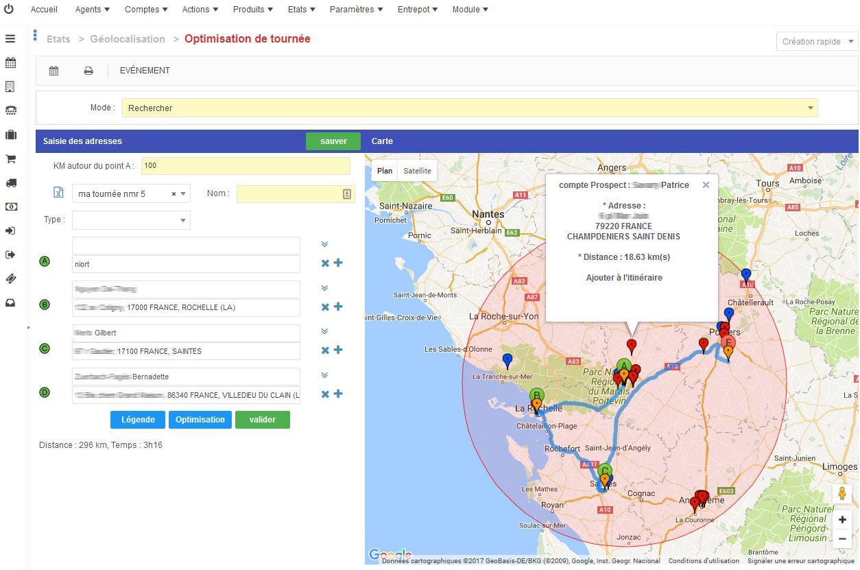 Géolocalisation et optimisation de tournées.