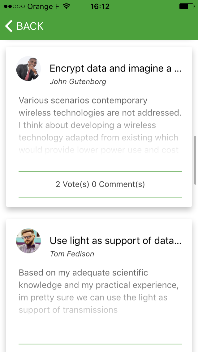 Idées, votes et commentaires (mobile)