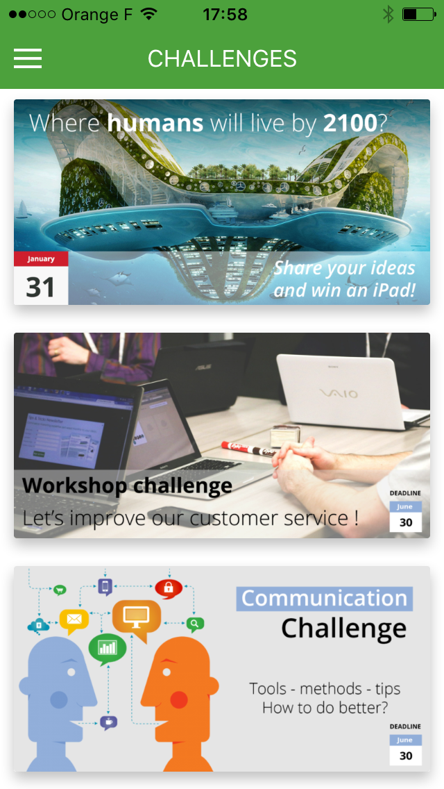 Challenges en cours (mobile)