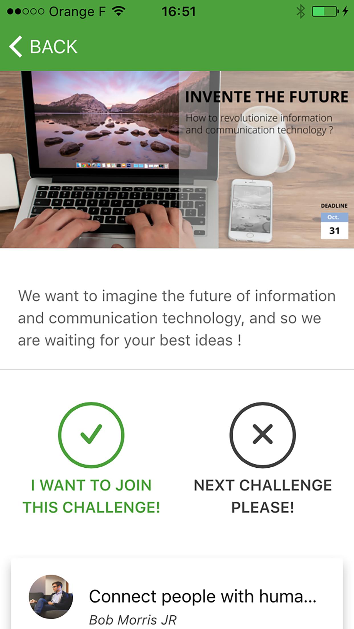Rejoindre un challenge (mobile)