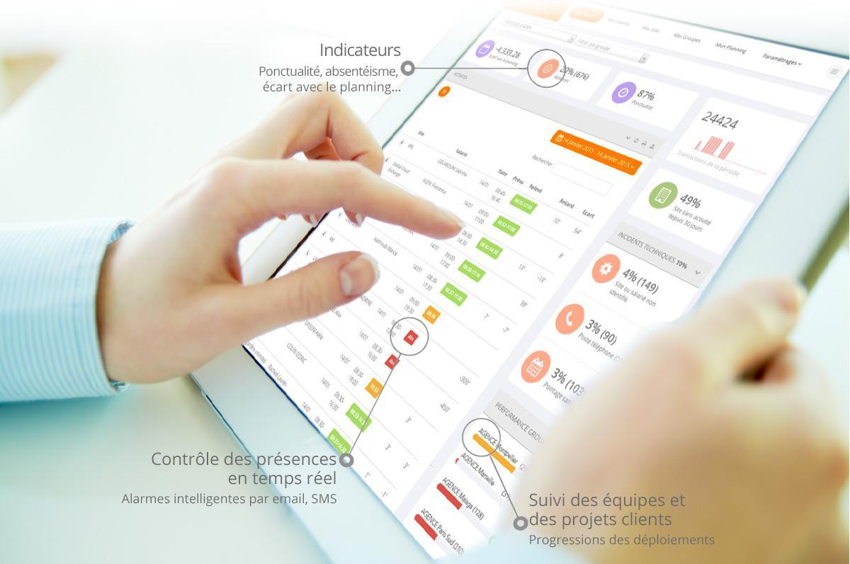 Le temps de pointage est enregistré en temps réel et rapproché au planning automatiquement selon l'intervenant.
