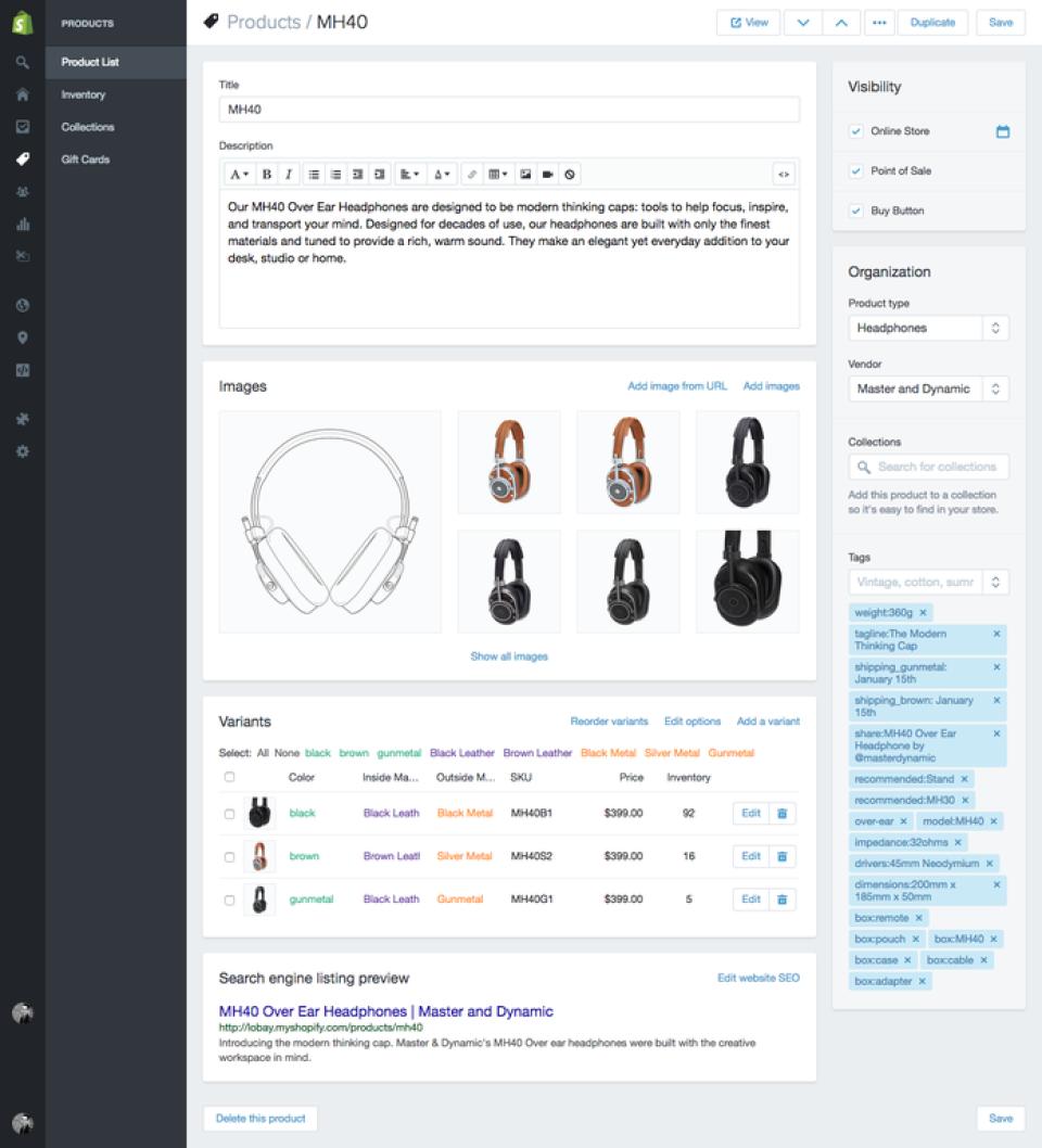 Shopify : descriptif produit