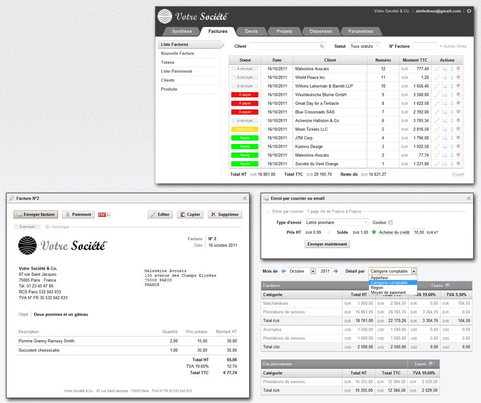eSlip: Export comptable, Webmail (gestion des emails), Application mobile