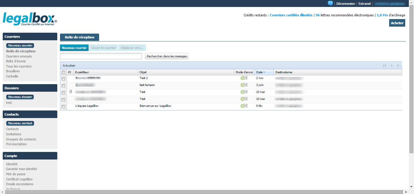 LegalBox: Support (téléphone, email, ticket), Coffre-fort électronique, Process de validation