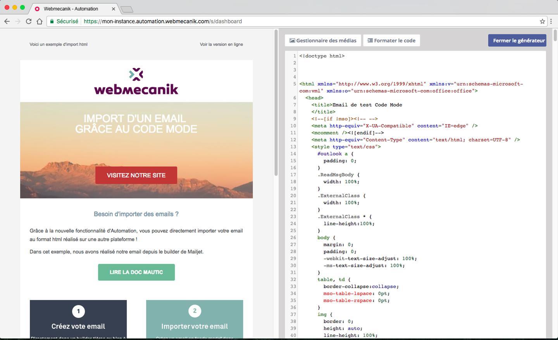 Editeur d'email avec possibilité de modifier le code HTML des emails