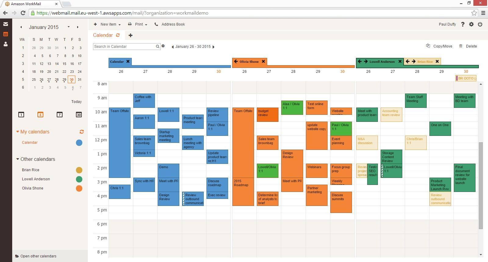 Amazon WorkMail: Planification d'événements, Redondance géographique des données, Gestionnaire de contacts