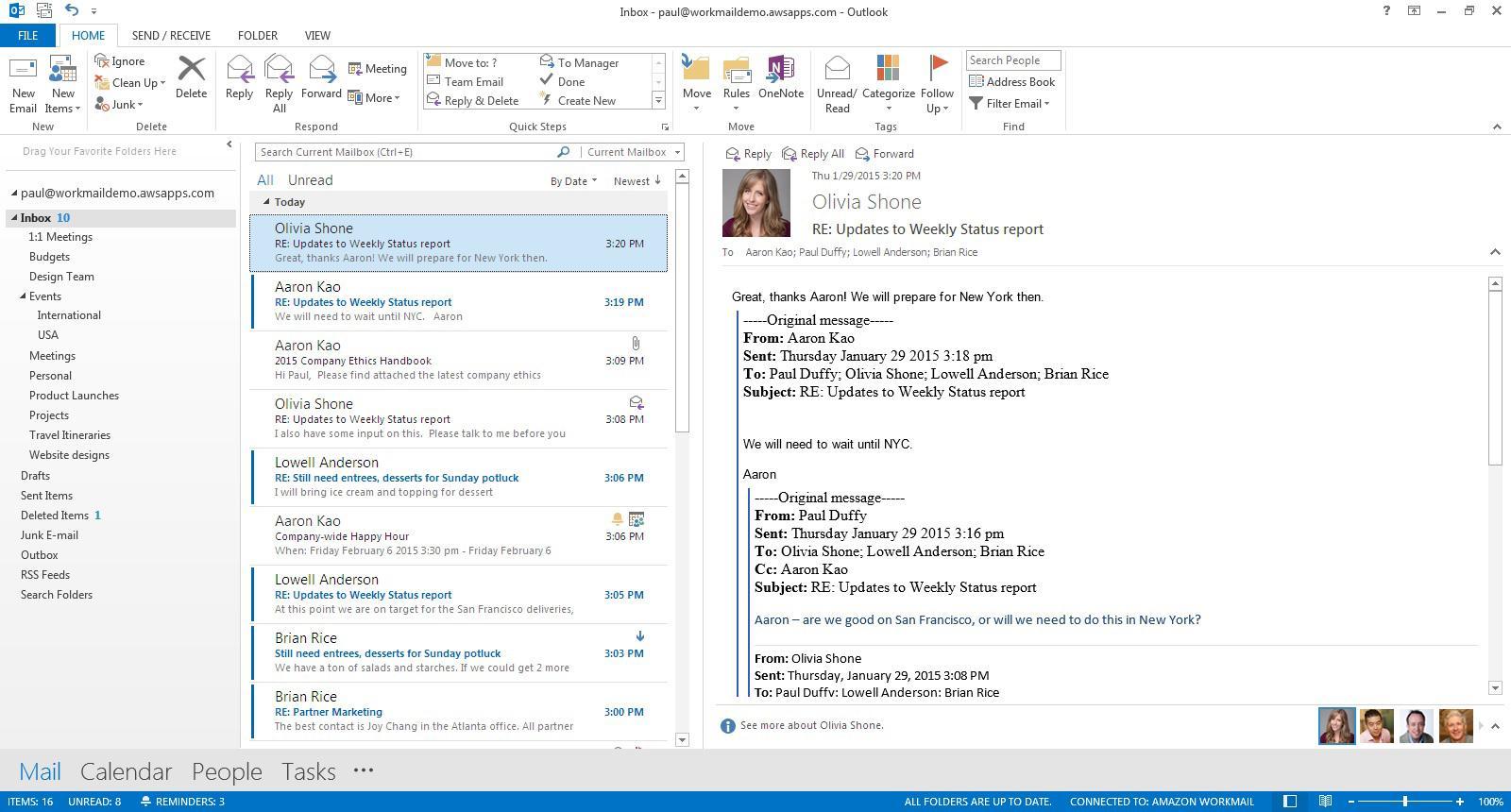 Amazon WorkMail: Contacts partagés, Tableau de bord, POP3 / IMAP