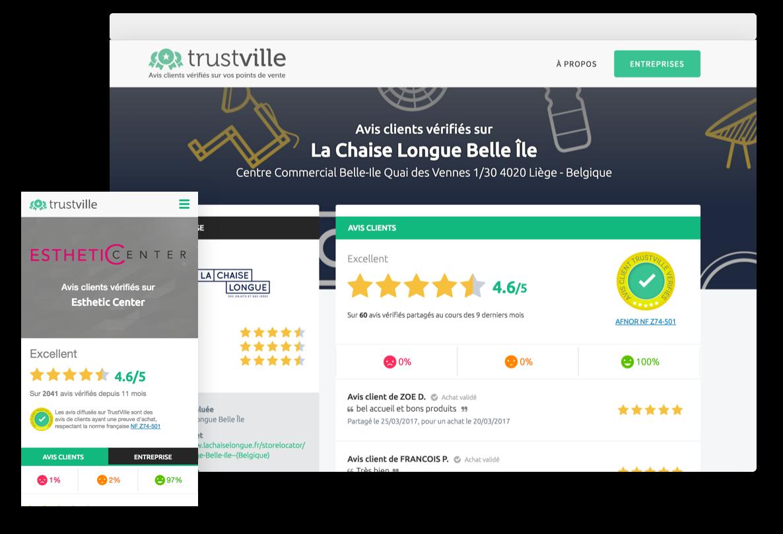 Diffusion d'avis clients vérifiés sur une page Trustville