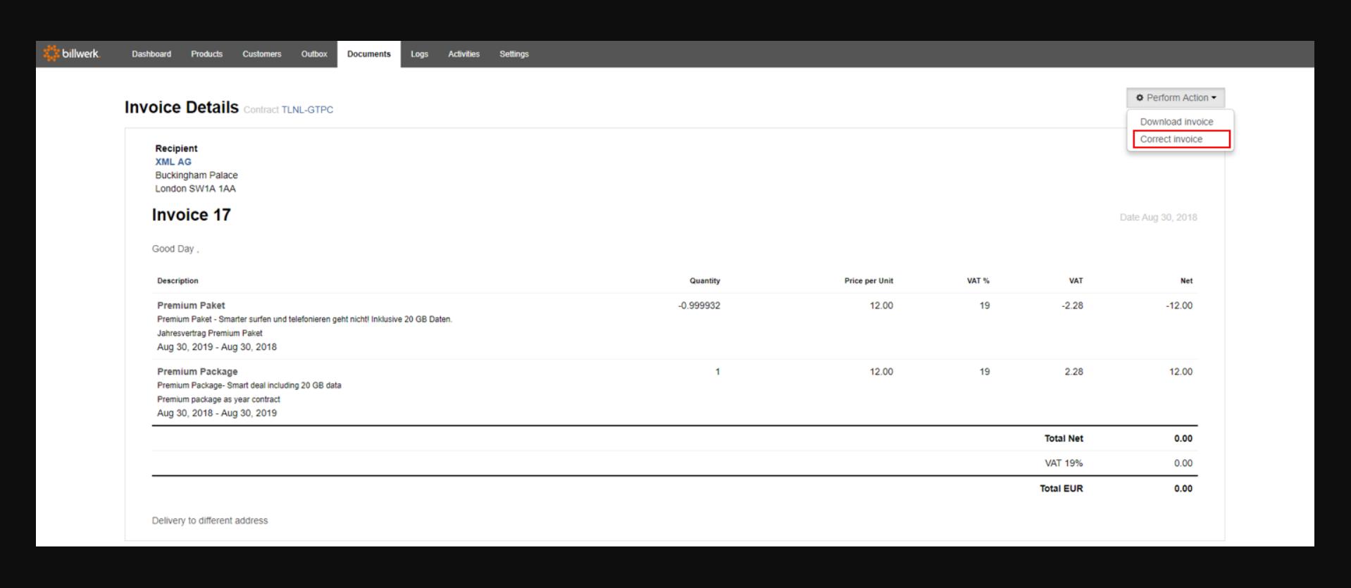 billwerk | Invoice details