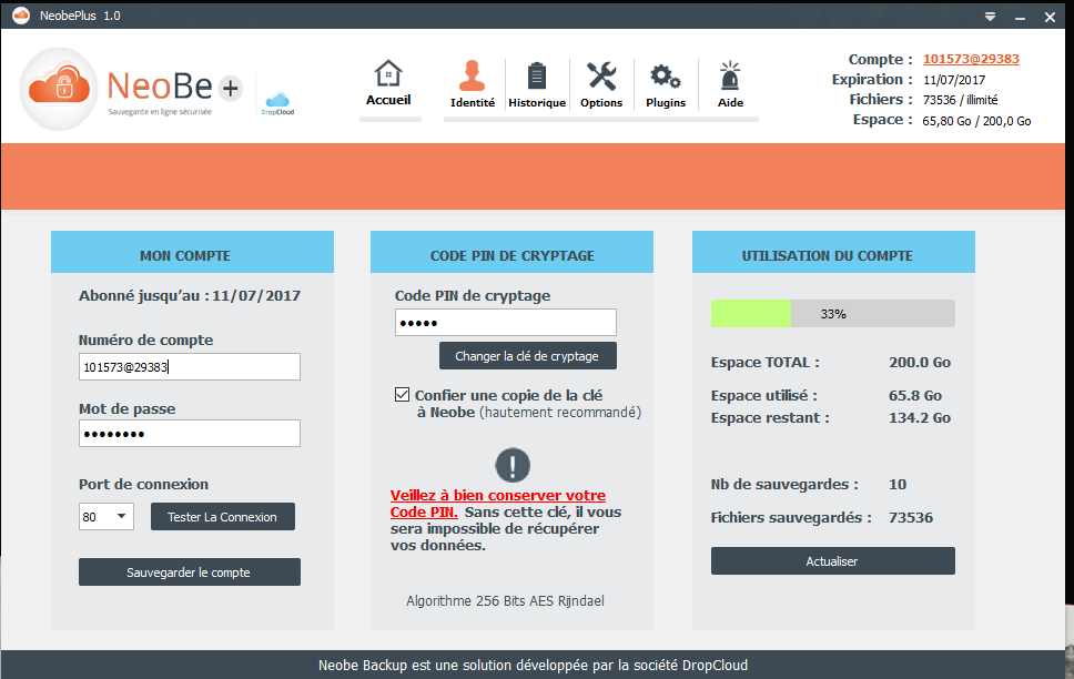 Capture d'écran de NeoBe : Liste des sauvegardes