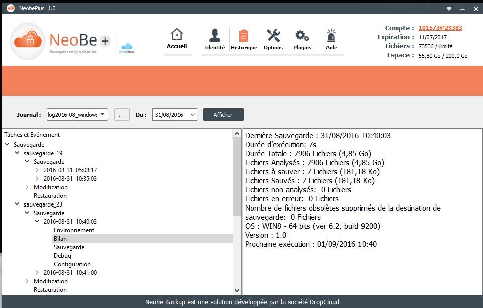 Capture d'écran de NeoBe : Historique