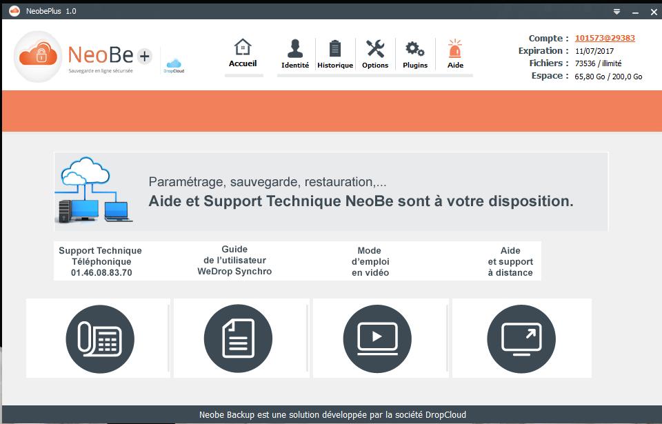 Capture d'écran de NeoBe : Aide