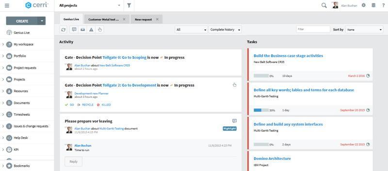 Screenshot Genius Project : Activités en cours
