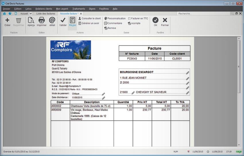 Ciel Devis Facture : factures personnalisées