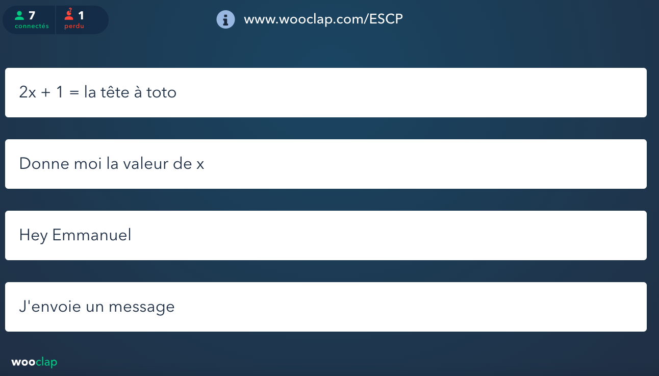 Wooclap : Mur de messages