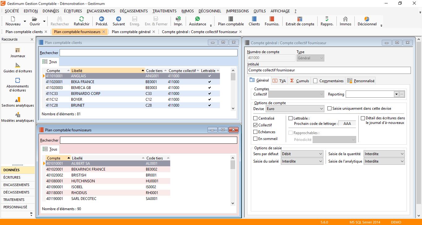 Gestimum comptabilité - Comptes