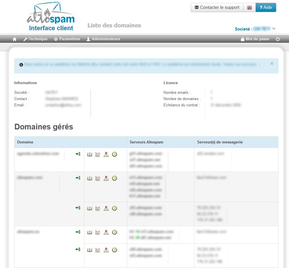 Interface client Altospam