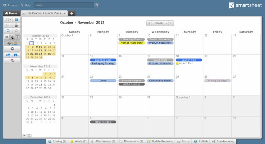 Smartsheet: Application mobile, Gantt, API, Web service