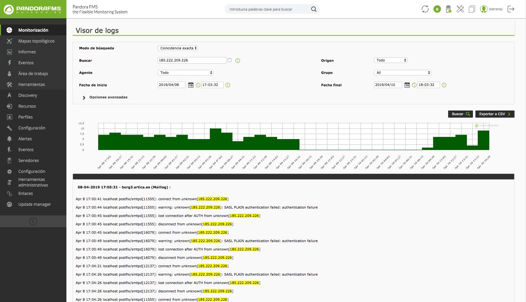 Pandora FMS inclut LogStash + ElasticSearch pour stocker l'information de logs, ce qui entraîne une amélioration notable de la performance