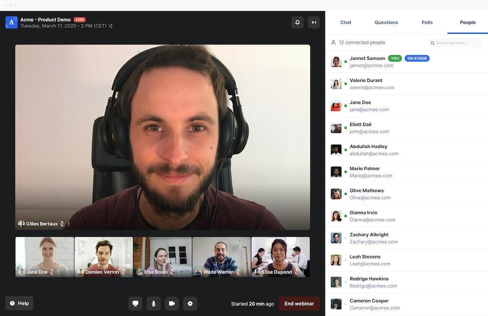 Browser-based webinars and meetings