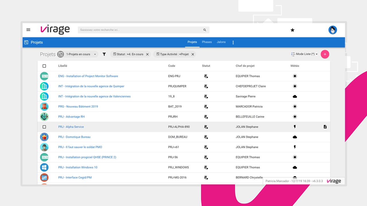 Tous vos projets sont facilement consultables sur Project Monitor