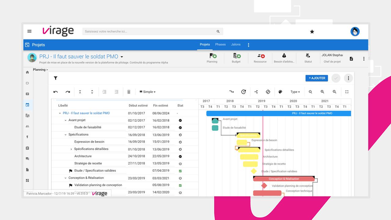Un planning Gantt ergonomique pour contrôler l'avancée des jalons et phases de vos projets