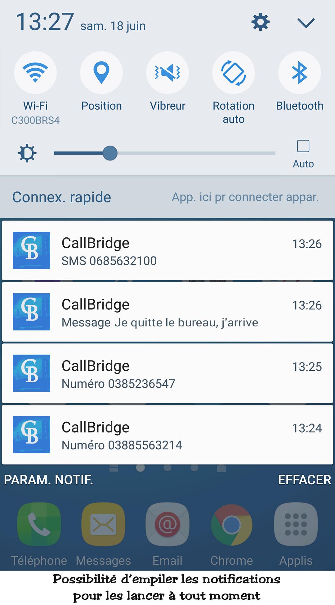 VOus lancez les appels/SMS immédiatement, ou les mettez dans la liste de notifications pour plus tard