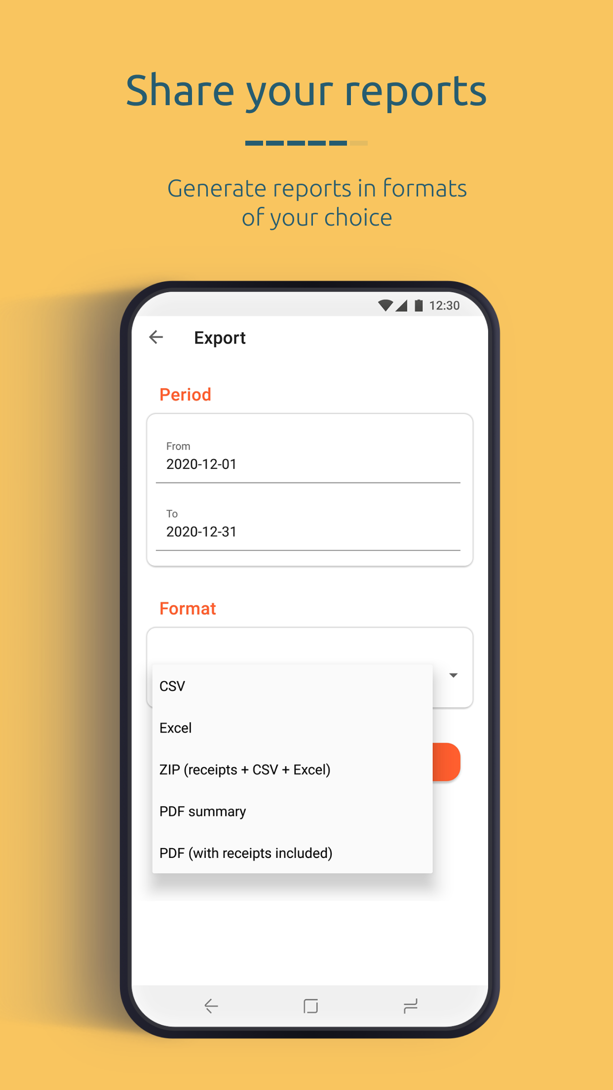 Share your reports from the app in one click