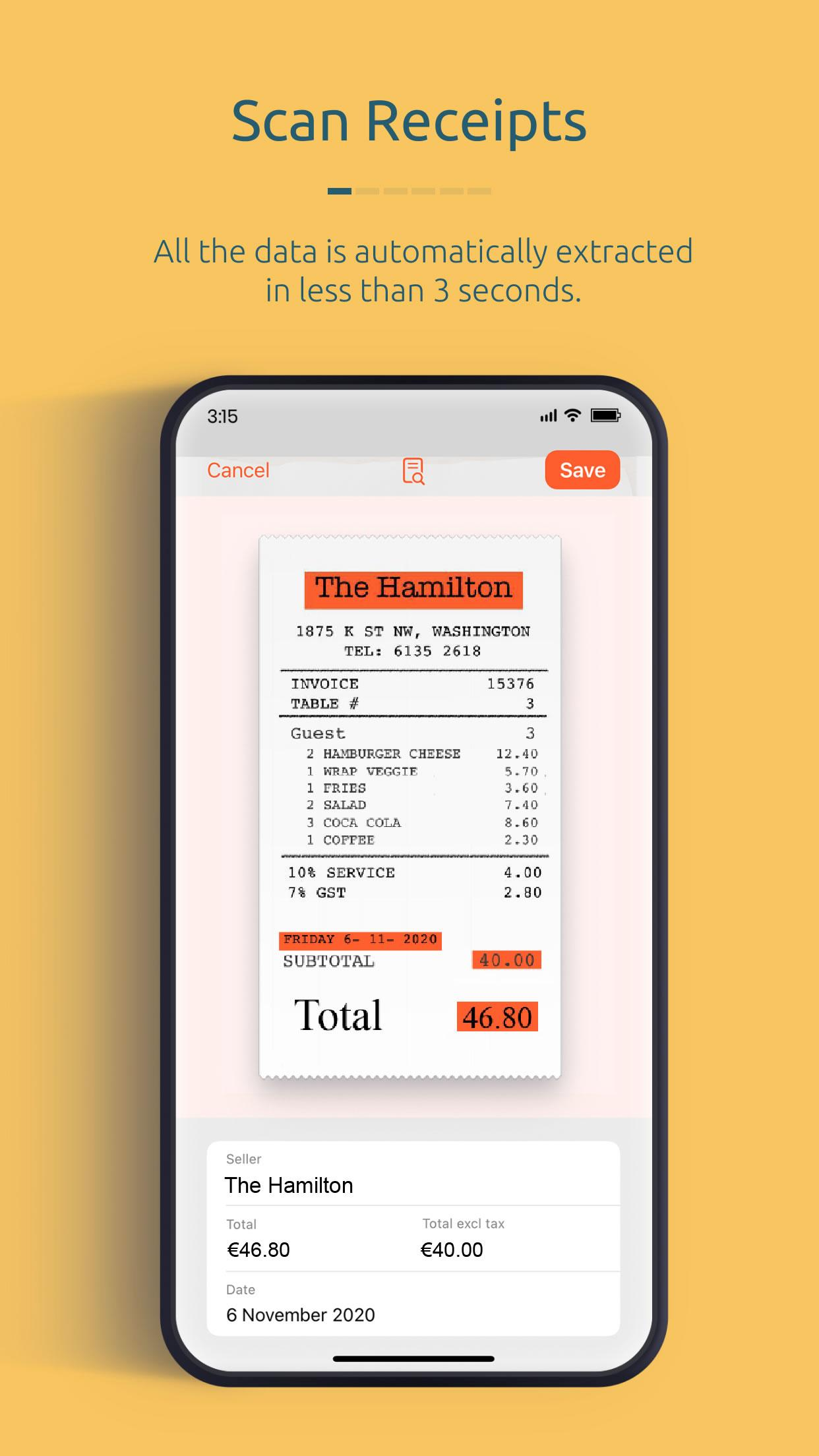 Easily scan receipts