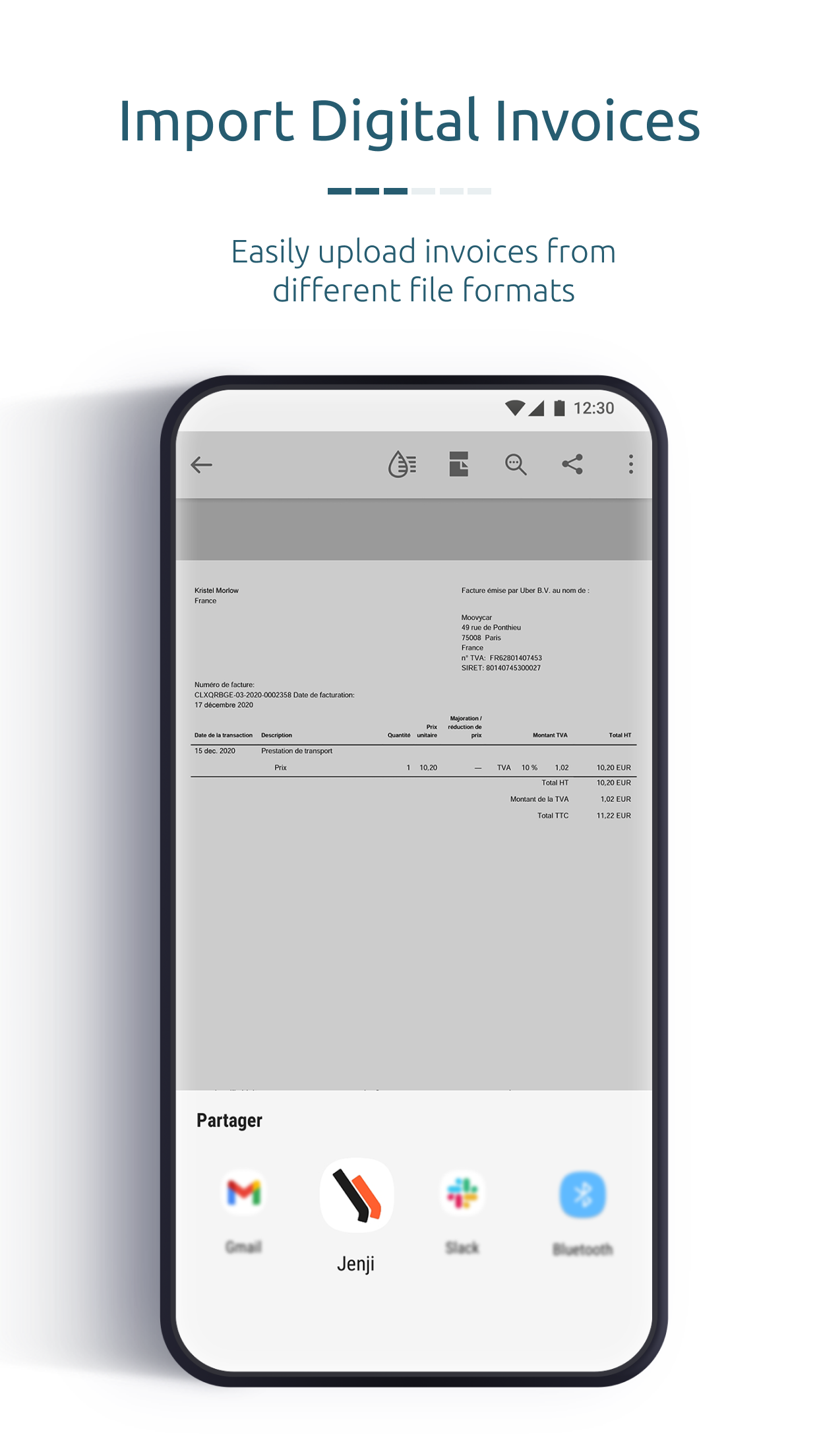 Import digital invoices and PDF files