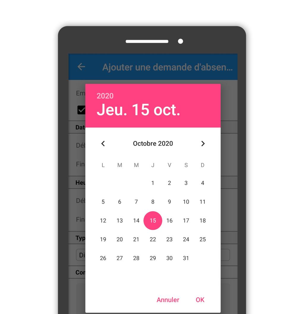 Affichage du choix de date sur le mobile
