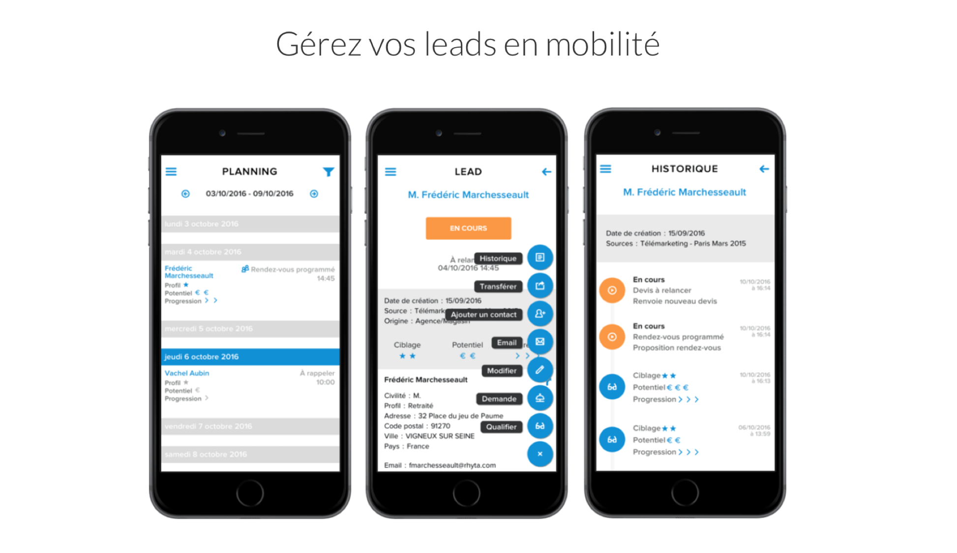 Oplead Lead Management sur mobile