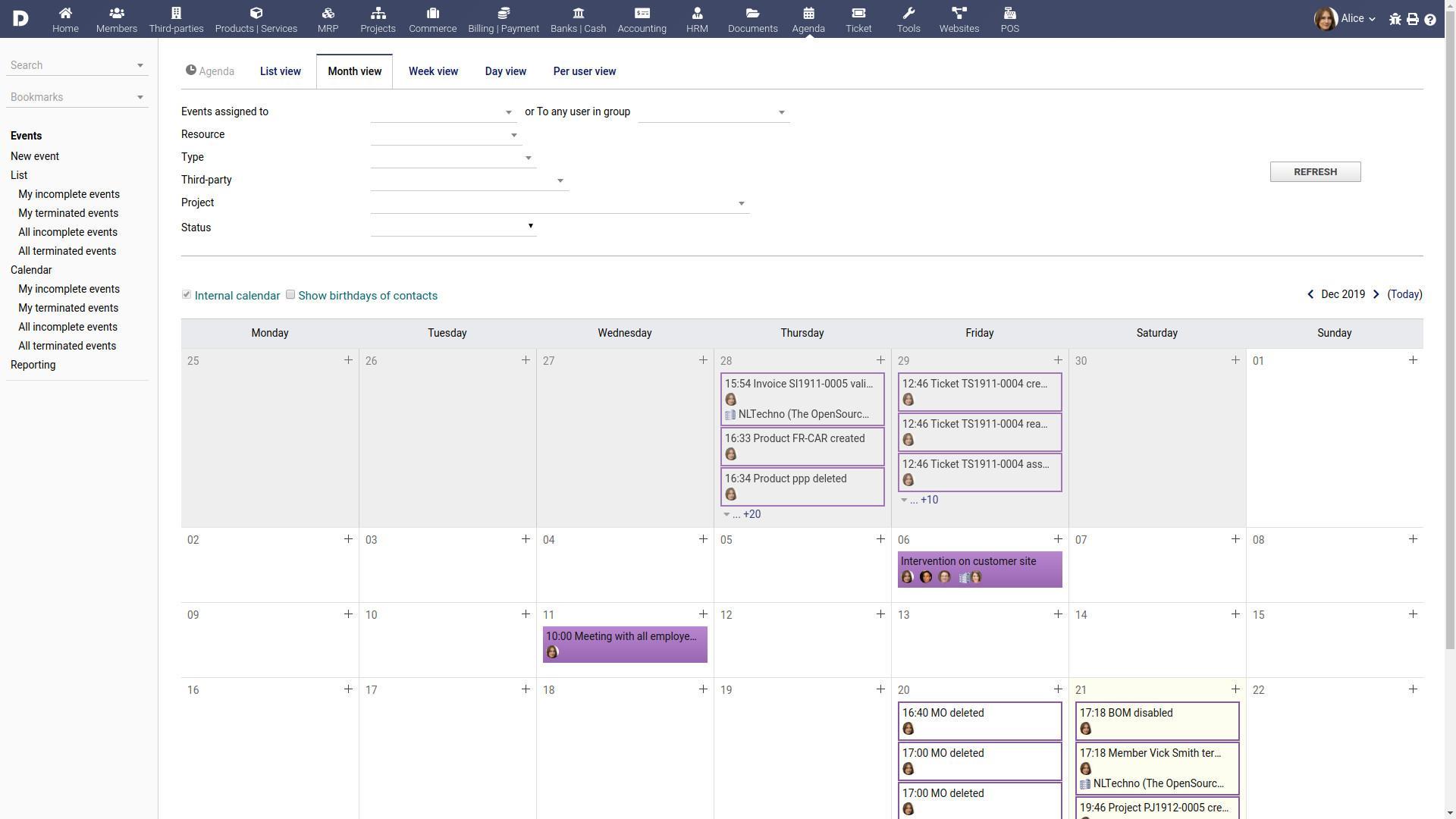 The calendars